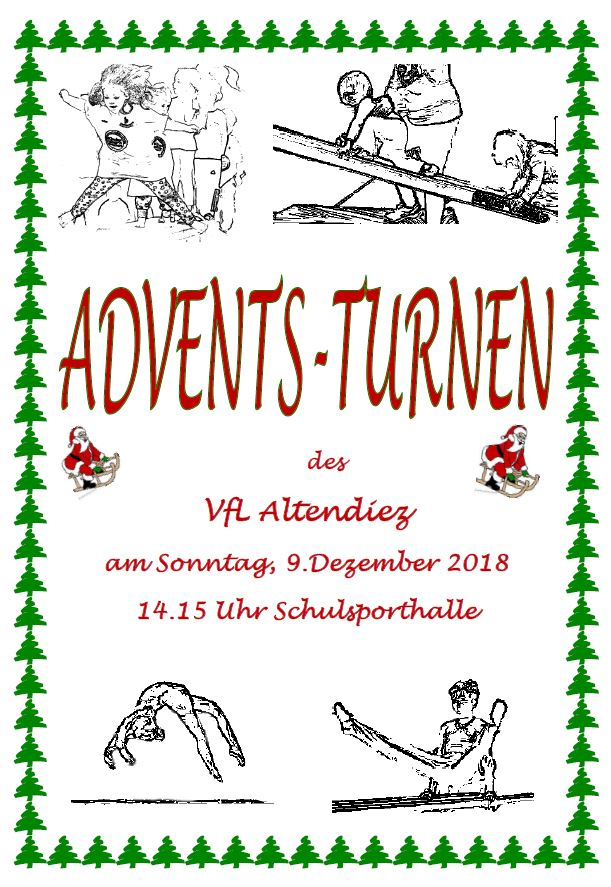 Adventsturnen am 09.12.2018 ab 14:15 in der Schulsporthalle Altendiez